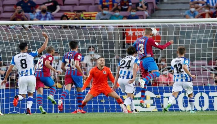 بدون ميسي.. برشلونة يفوز على سوسيداد بالأربعة في بداية الليجا